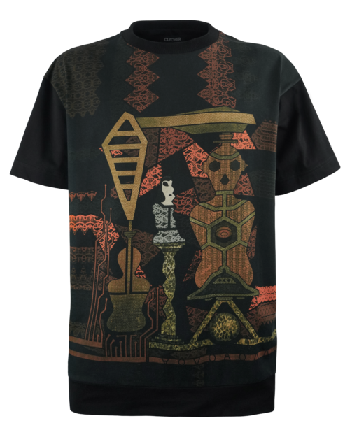 T-shirt Oversize Unisex made in Italy. T-shirt Nera con Stampa Digitale e Ricamo.